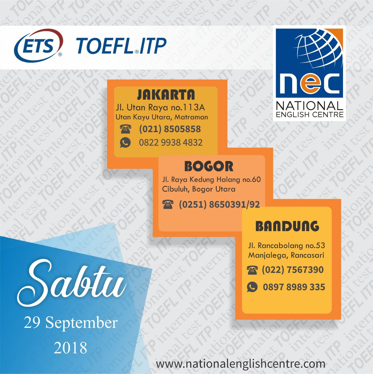 JADWAL TOEFL ITP SEPTEMBER 2018